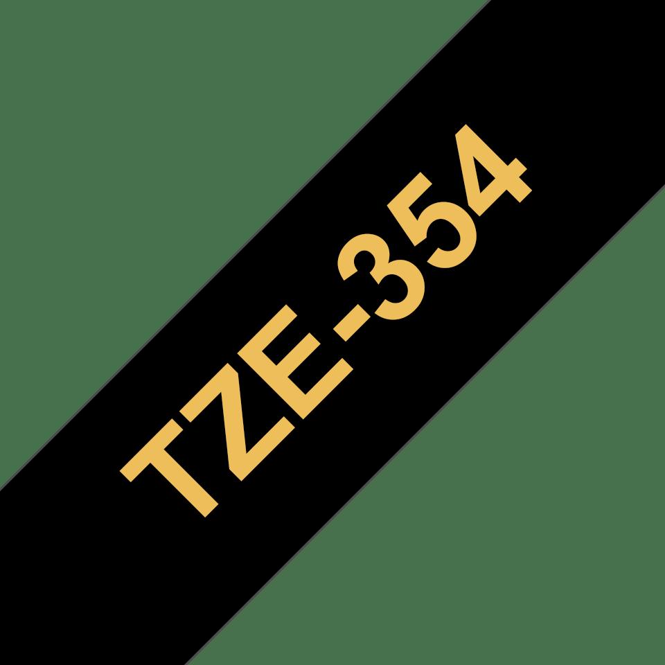 Oryginalna taśma TZe-354 firmy Brother – złoty nadruk na czarnym tle, 24mm szerokości 3