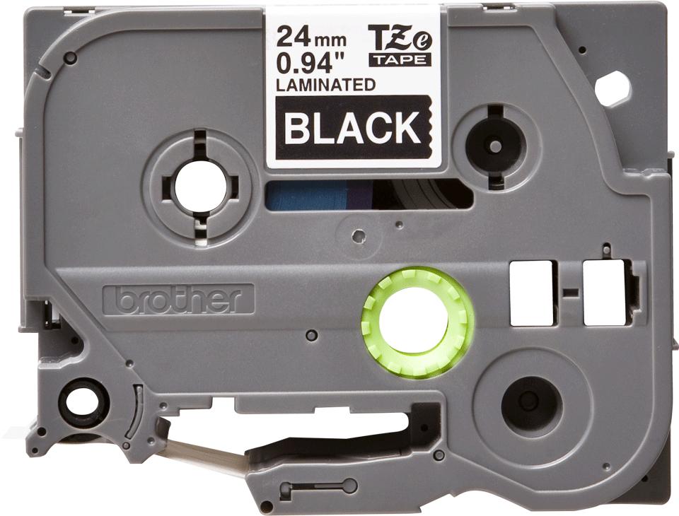 Oryginalna taśma TZe-355 firmy Brother – biały nadruk na czarnym tle, 24mm szerokości