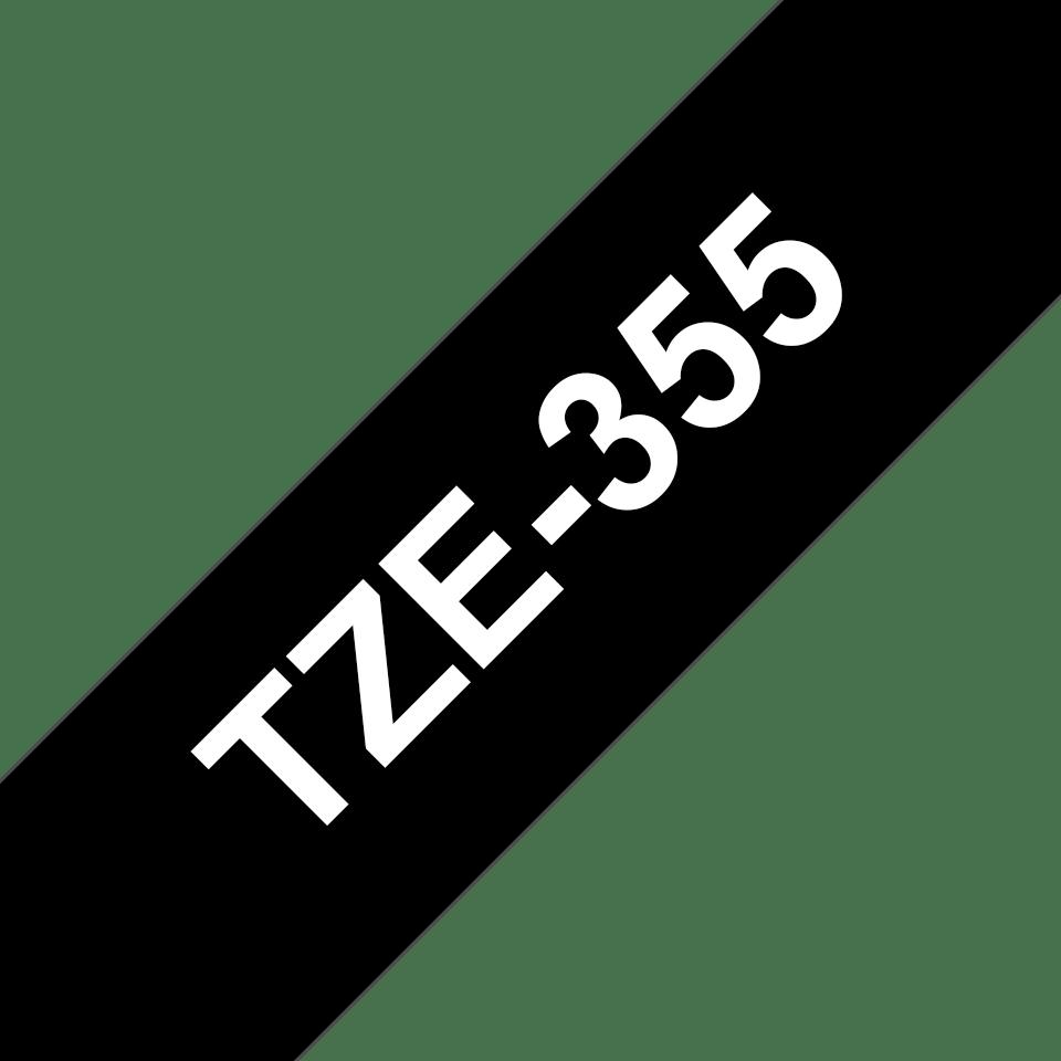 Oryginalna taśma TZe-355 firmy Brother – biały nadruk na czarnym tle, 24mm szerokości  3