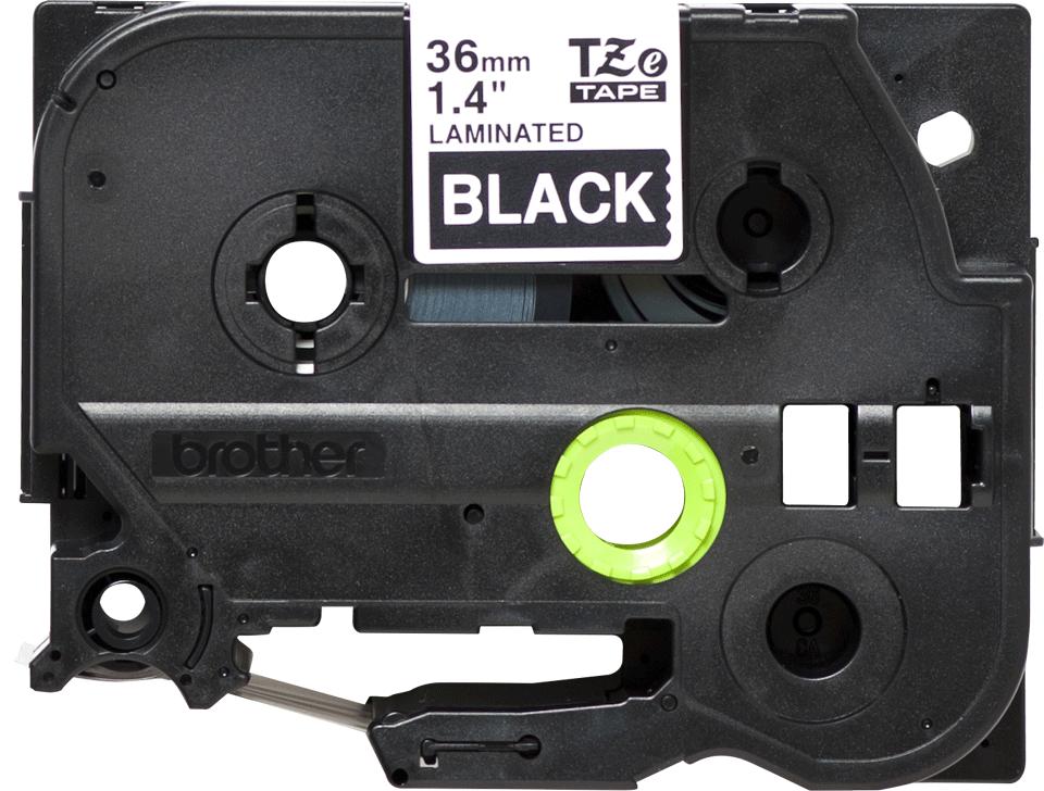 Oryginalna taśma TZe-365 firmy Brother – biały nadruk na czarnym tle, 36mm szerokości