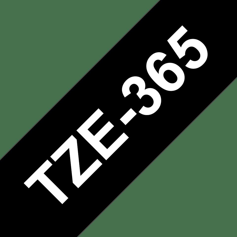 Oryginalna taśma TZe-365 firmy Brother – biały nadruk na czarnym tle, 36mm szerokości 3