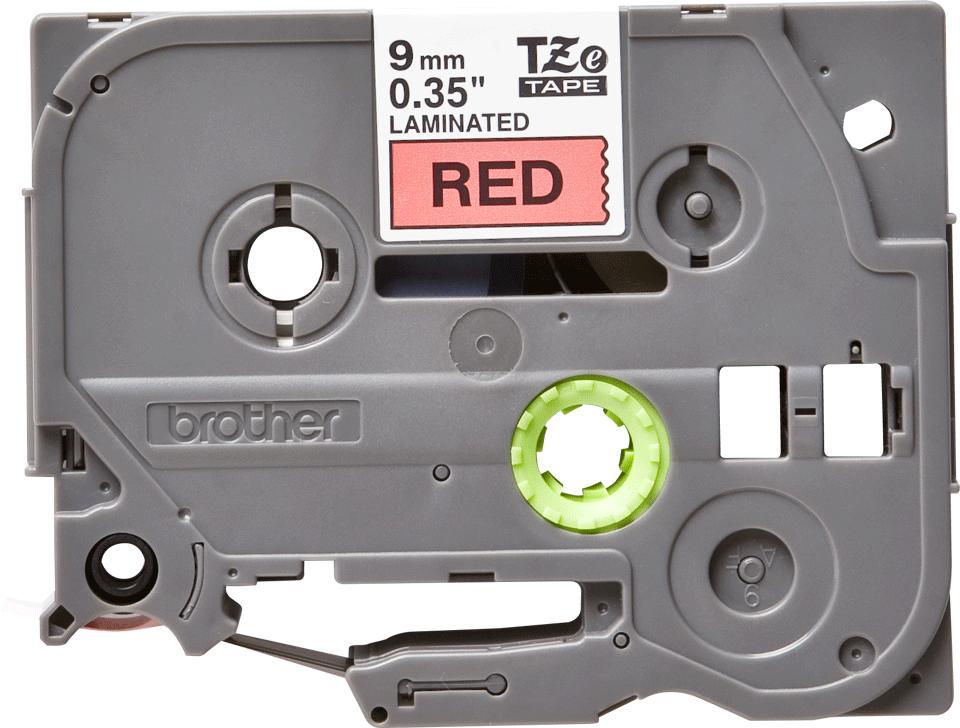 Oryginalna taśma TZe-421 firmy Brother – czarny nadruk na czerwonym tle, 9mm szerokości