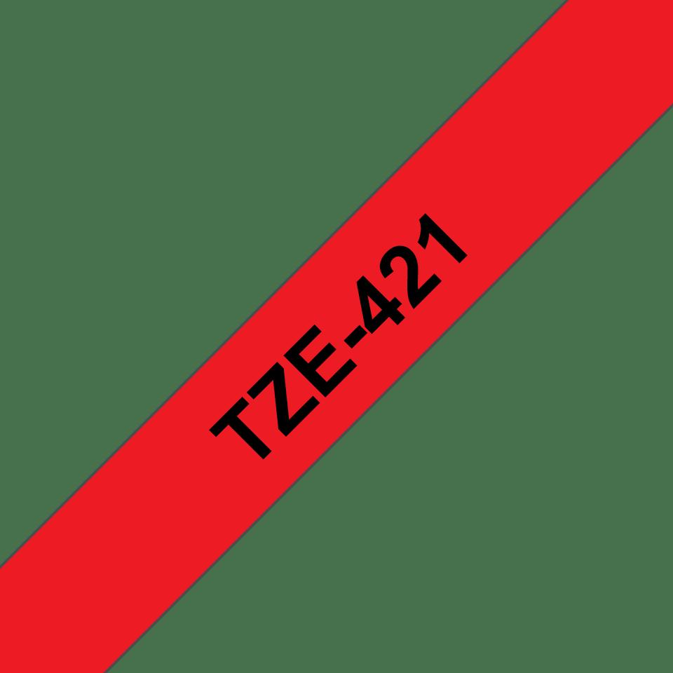 Oryginalna taśma TZe-421 firmy Brother – czarny nadruk na czerwonym tle, 9mm szerokości 3