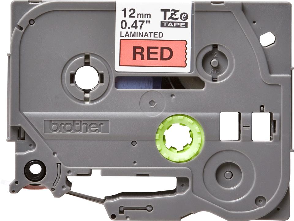 Oryginalna taśma TZe-431 firmy Brother – czarny nadruk na czerwonym tle, 12mm szerokości