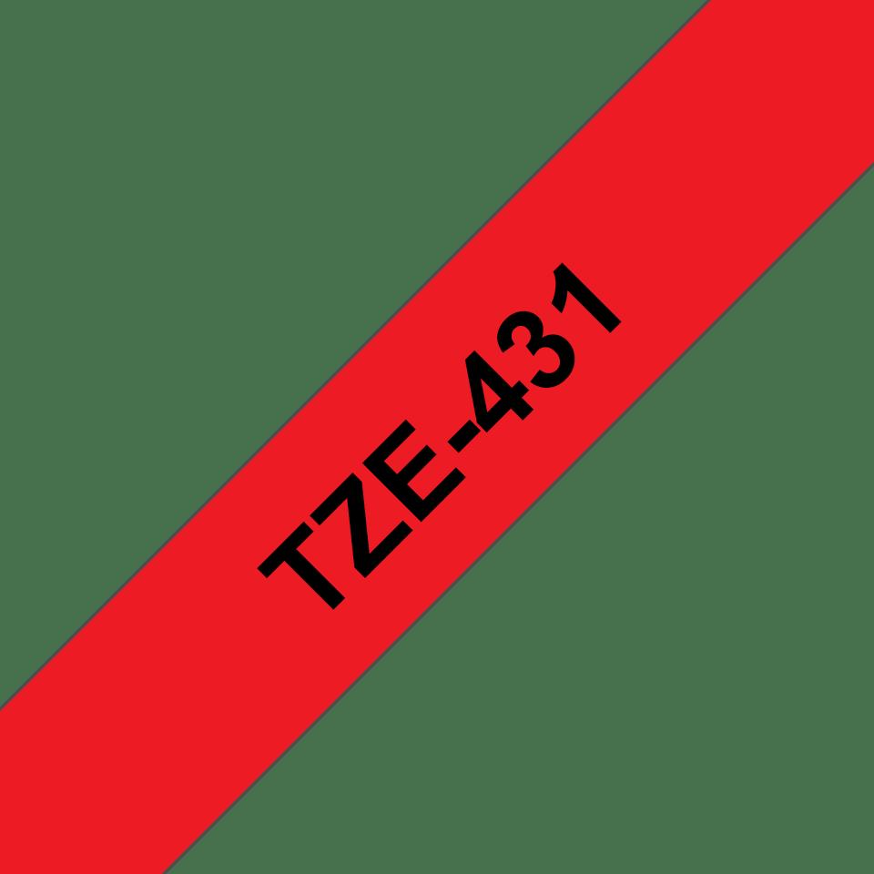 Oryginalna taśma TZe-431 firmy Brother – czarny nadruk na czerwonym tle, 12mm szerokości 3