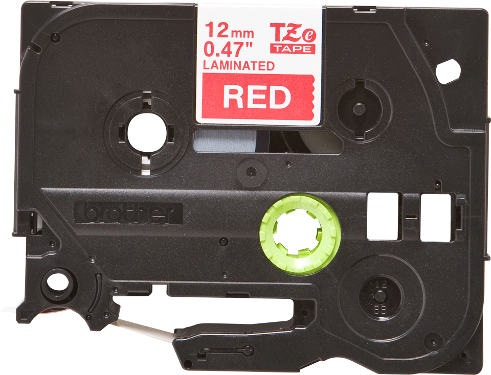 Oryginalna taśma TZe-435 firmy Brother – biały nadruk na czerwonym tle, 12mm szerokości 2