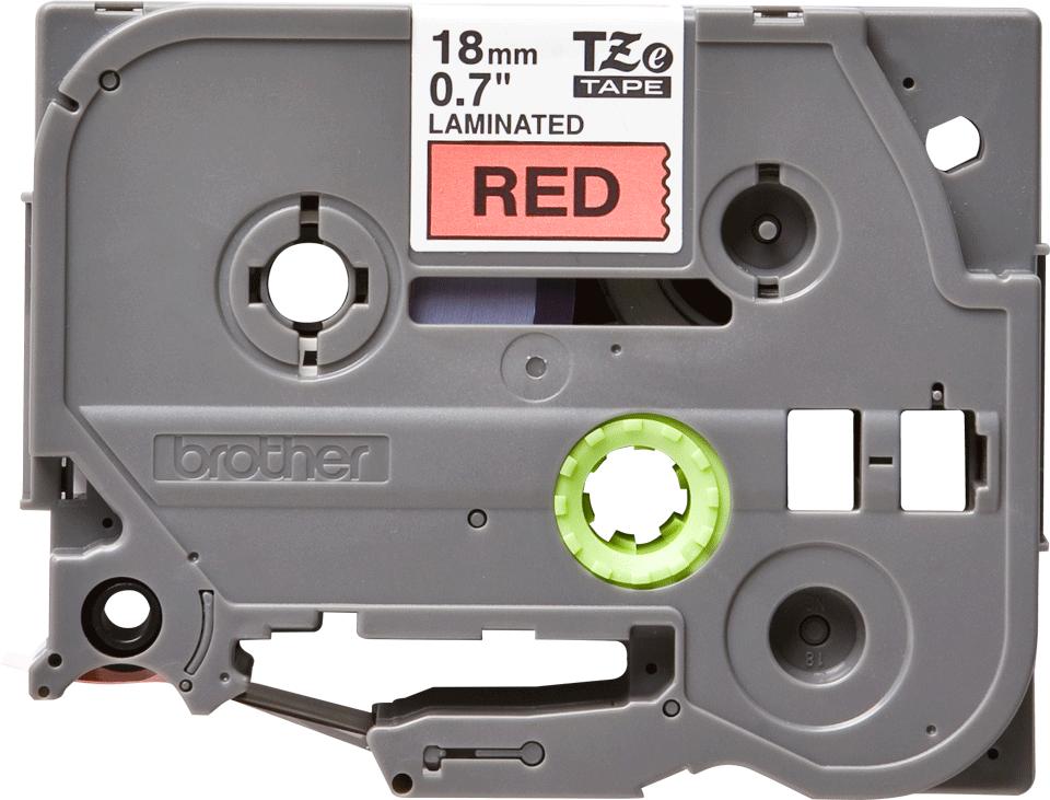 Oryginalna taśma TZe-441 firmy Brother – czarny nadruk na czerwonym tle, 18mm szerokości 2