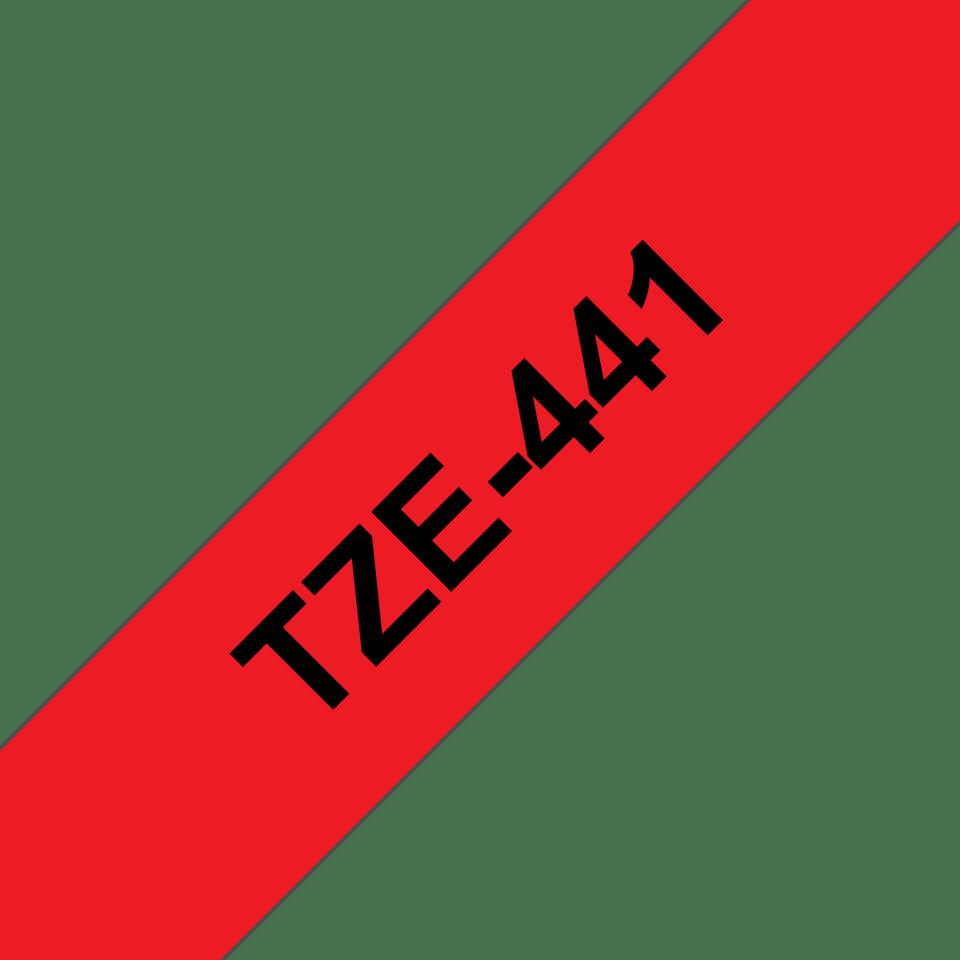 Oryginalna taśma TZe-441 firmy Brother – czarny nadruk na czerwonym tle, 18mm szerokości