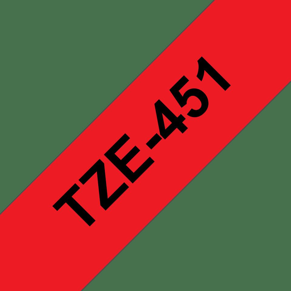 Oryginalna taśma TZe-451 firmy Brother – czarny nadruk na czerwonym tle, 24mm szerokości