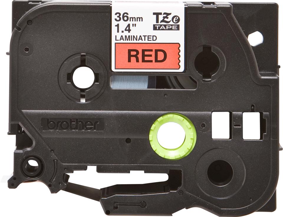 Oryginalna taśma TZe-461 firmy Brother – czarny nadruk na czerwonym tle, 36mm szerokości 2