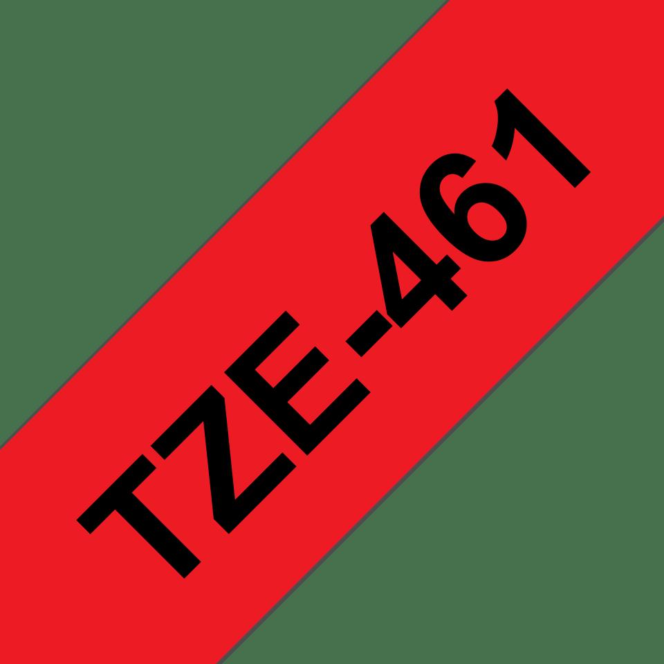 Oryginalna taśma TZe-461 firmy Brother – czarny nadruk na czerwonym tle, 36mm szerokości 3
