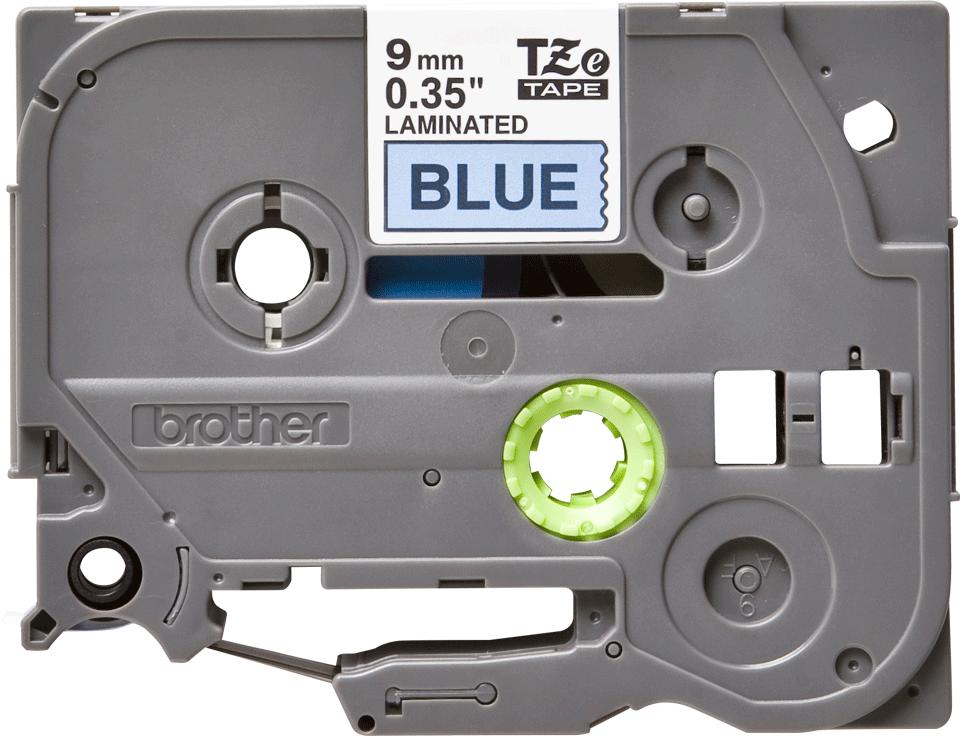 Oryginalna taśma TZe-521 firmy Brother – czarny nadruk na niebieskim tle, 9mm szerokości