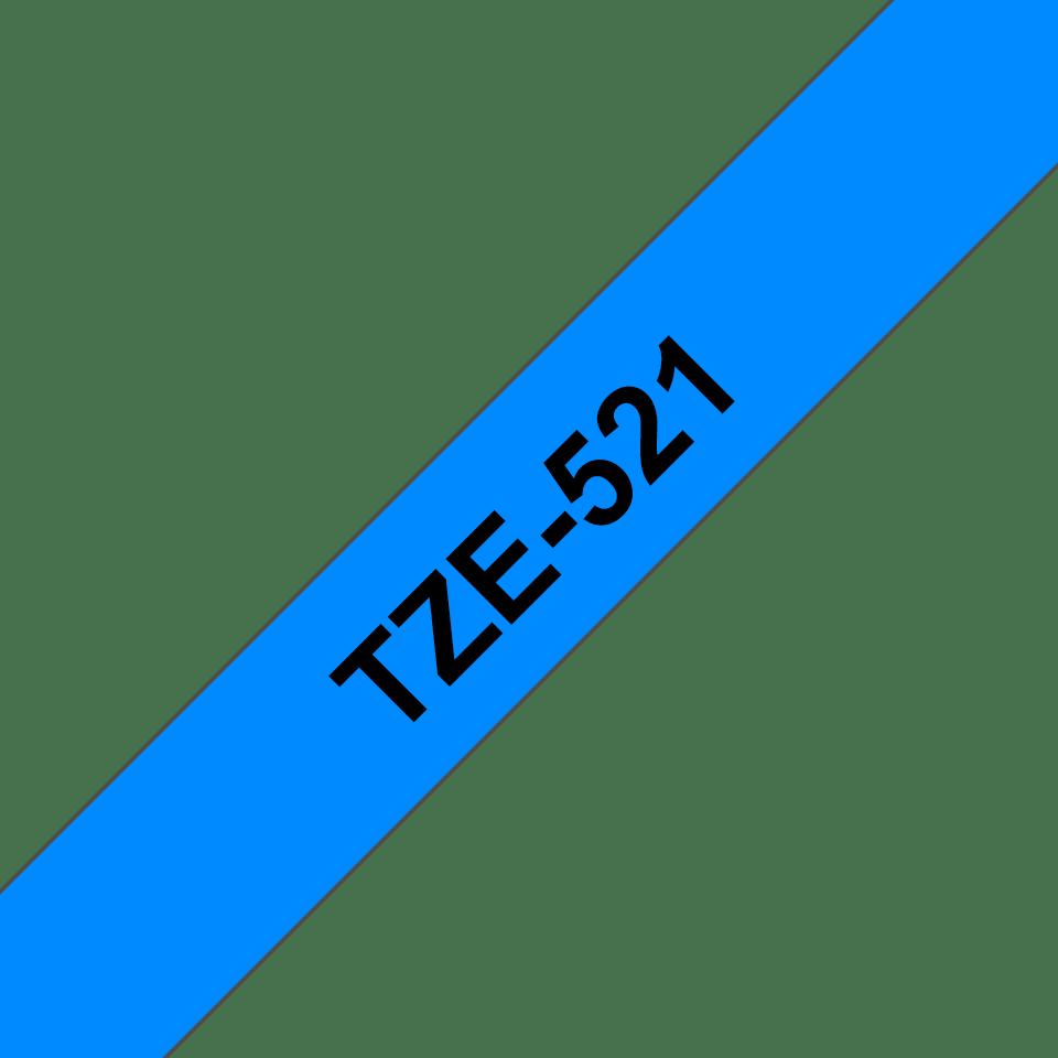 Oryginalna taśma TZe-521 firmy Brother – czarny nadruk na niebieskim tle, 9mm szerokości 3