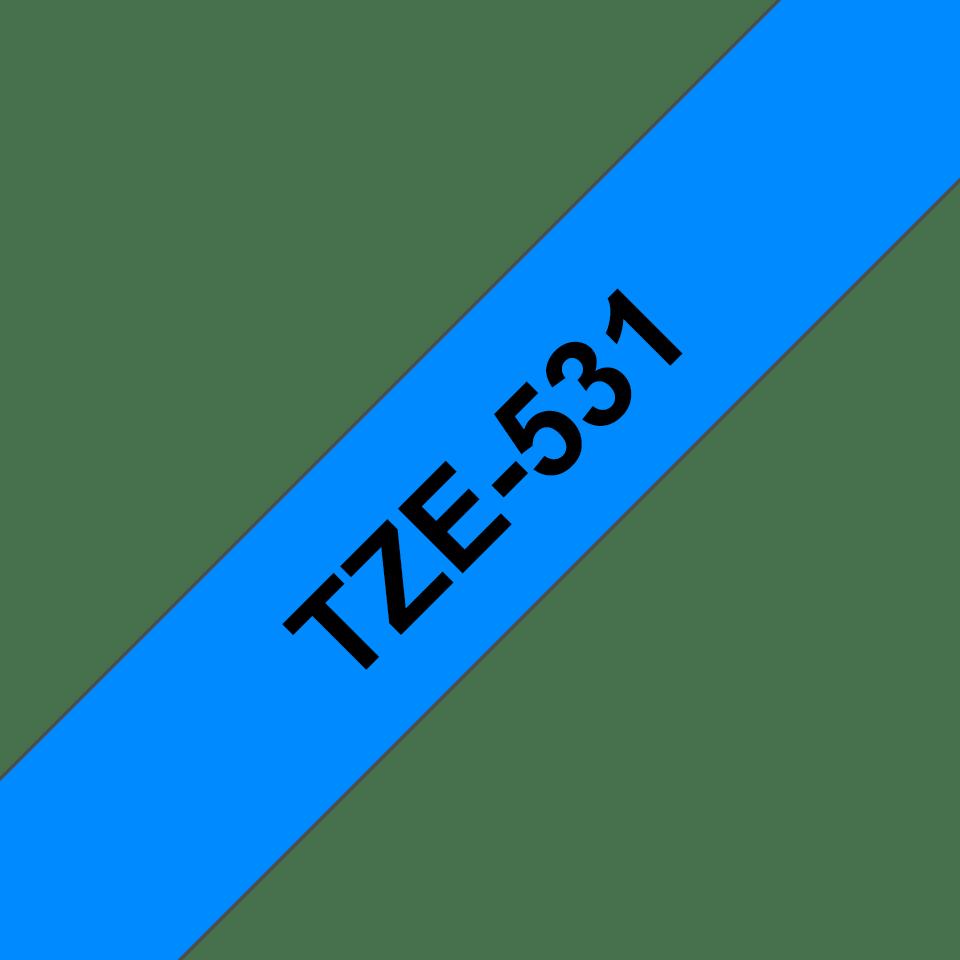 Oryginalna taśma TZe-531 firmy Brother – czarny nadruk na niebieskim tle, 12mm szerokości 3