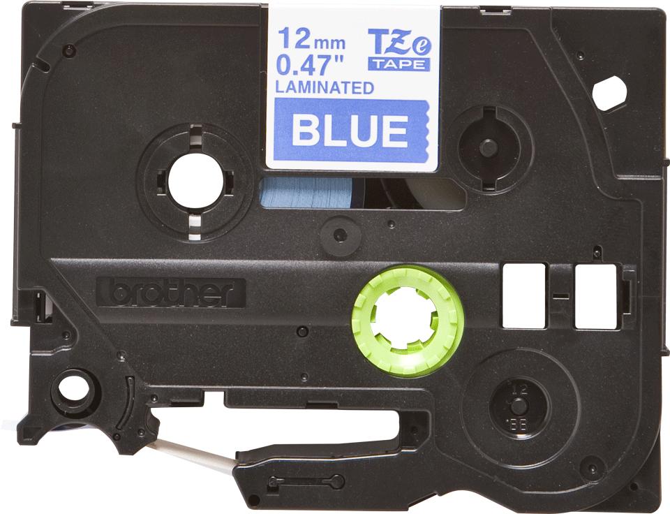 Oryginalna taśma TZe-535 firmy Brother – biały nadruk na niebieskim tle, 12mm szerokości 2