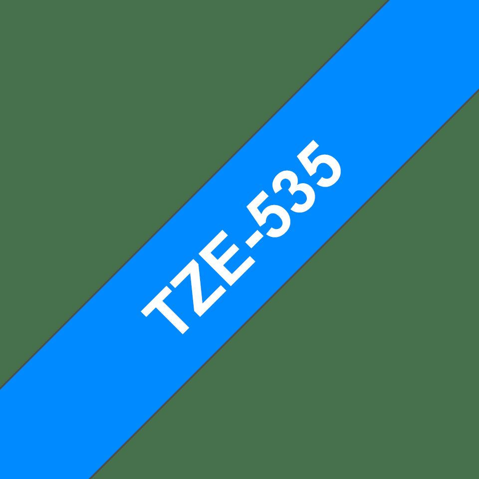 Oryginalna taśma TZe-535 firmy Brother – biały nadruk na niebieskim tle, 12mm szerokości 3