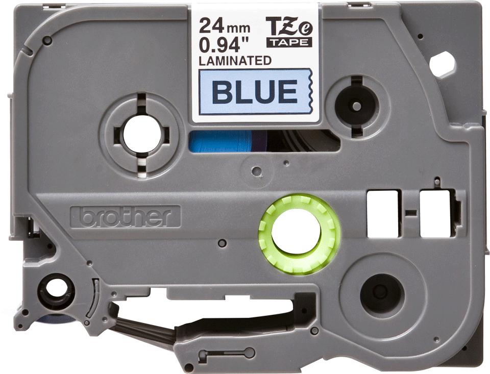 Oryginalna taśma TZe-551 firmy Brother – czarny nadruk na niebieskim tle, 24mm szerokości