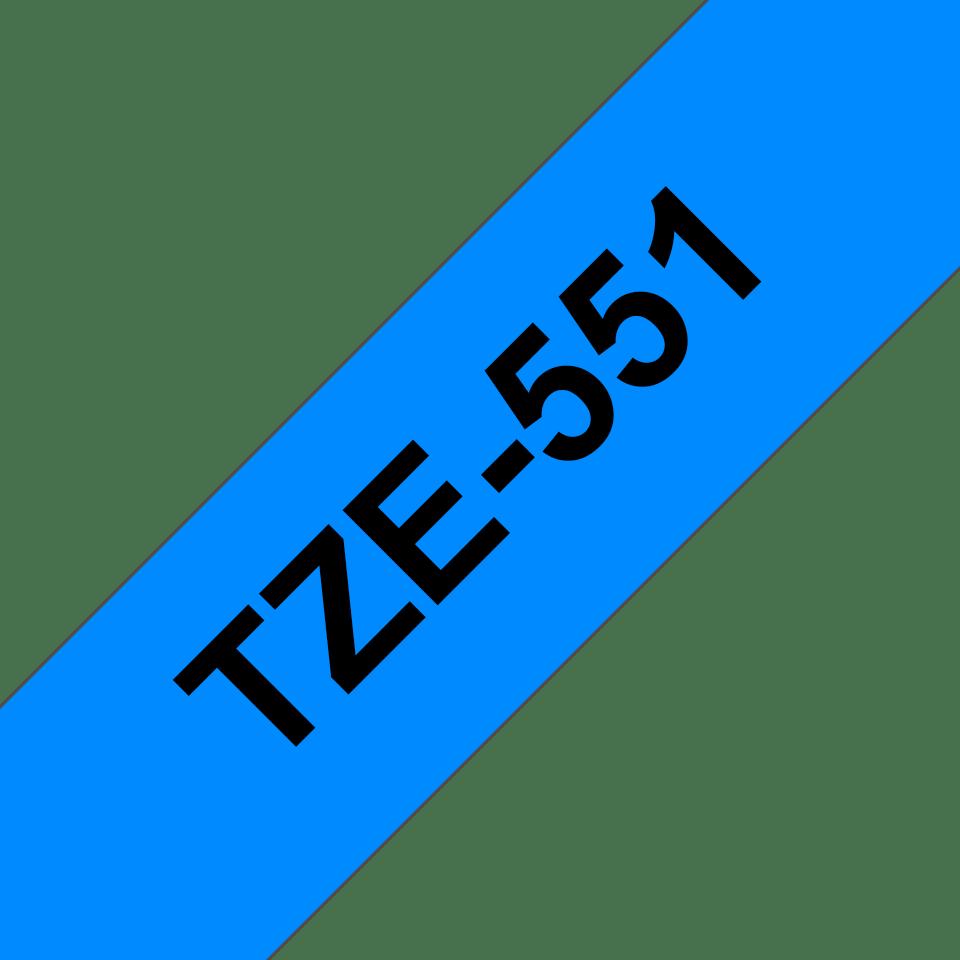 Oryginalna taśma TZe-551 firmy Brother – czarny nadruk na niebieskim tle, 24mm szerokości 3