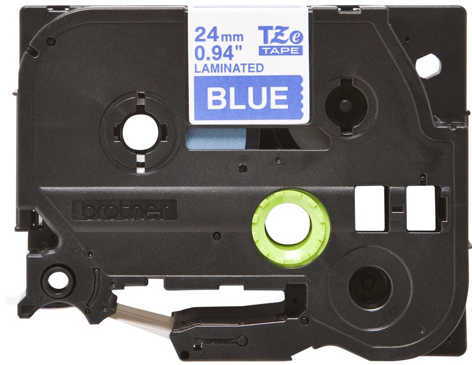 Oryginalna taśma TZe-555 firmy Brother – biały nadruk na niebieskim tle, 24mm szerokości