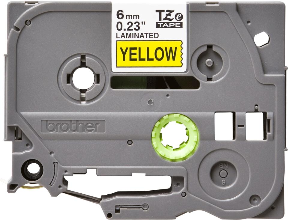 Oryginalna taśma TZe-611 firmy Brother – czarny nadruk na żółtym tle, 6mm szerokości
