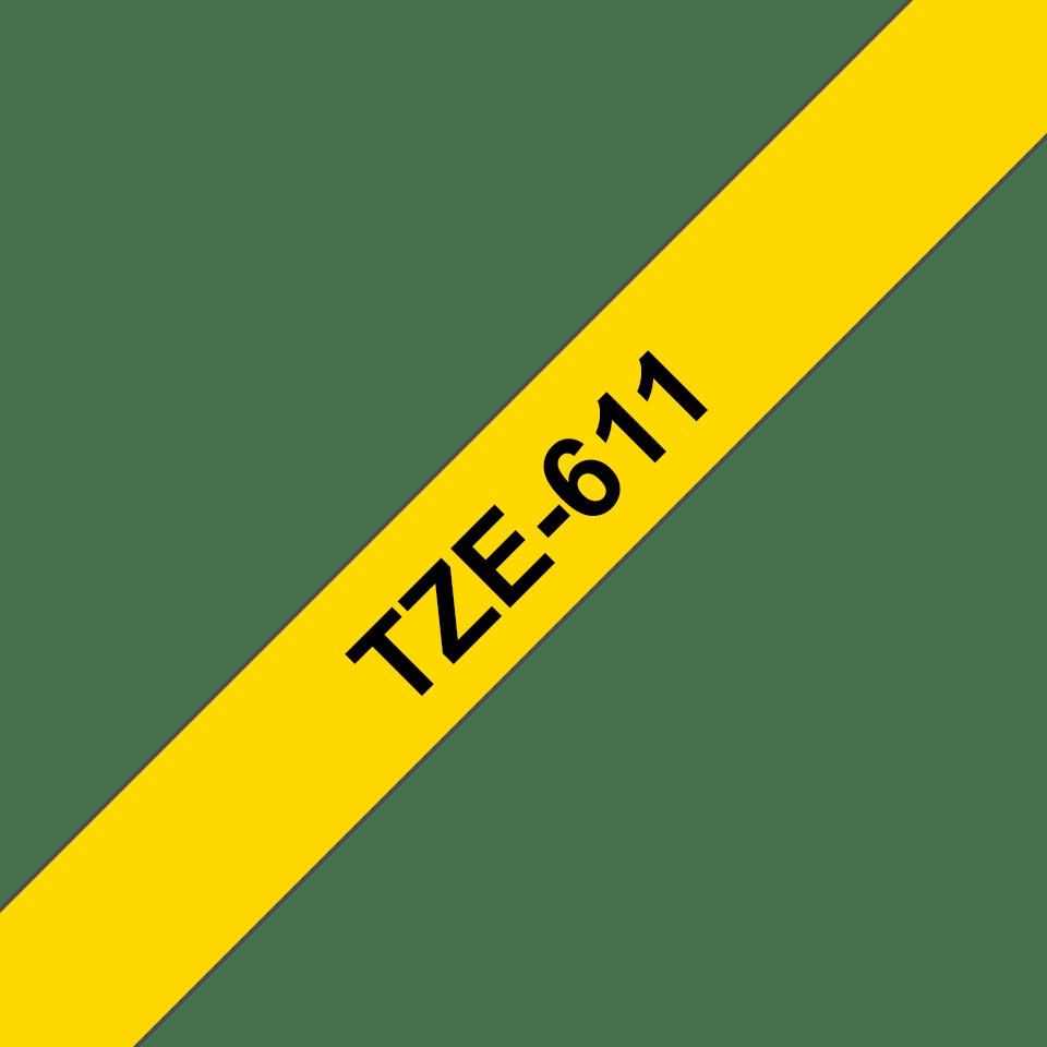 Oryginalna taśma TZe-611 firmy Brother – czarny nadruk na żółtym tle, 6mm szerokości 3