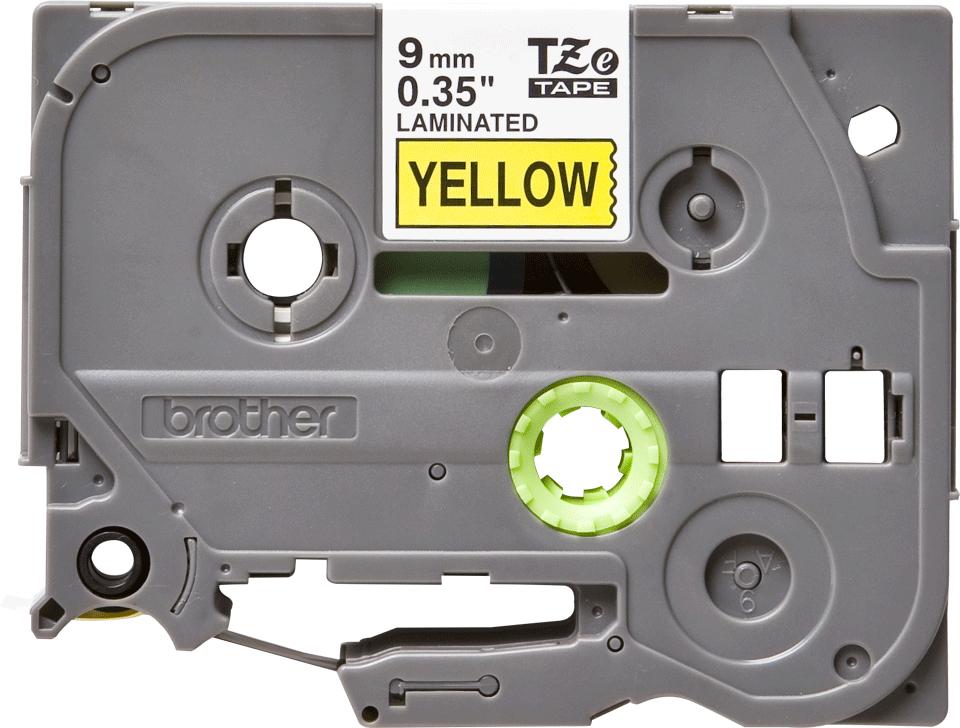 Oryginalna taśma TZe-621 firmy Brother – czarny nadruk na żółtym tle, 9mm szerokości