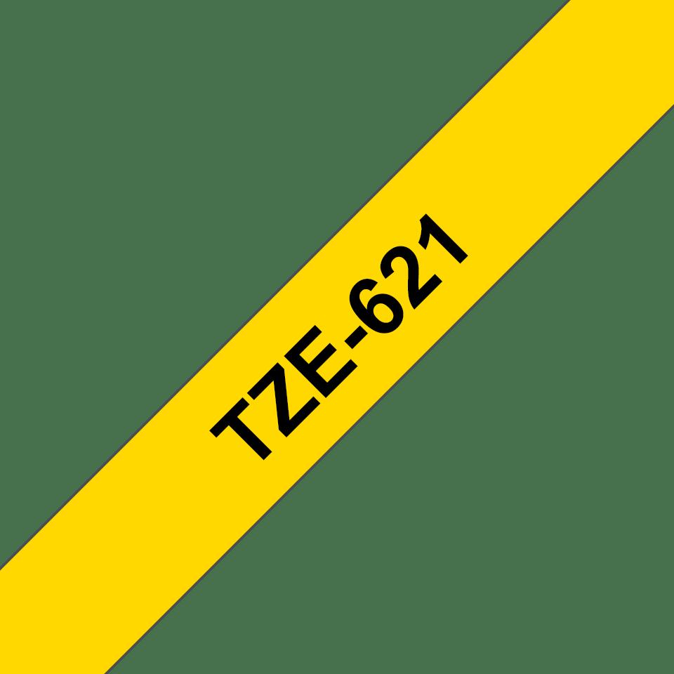 Oryginalna taśma TZe-621 firmy Brother – czarny nadruk na żółtym tle, 9mm szerokości 3