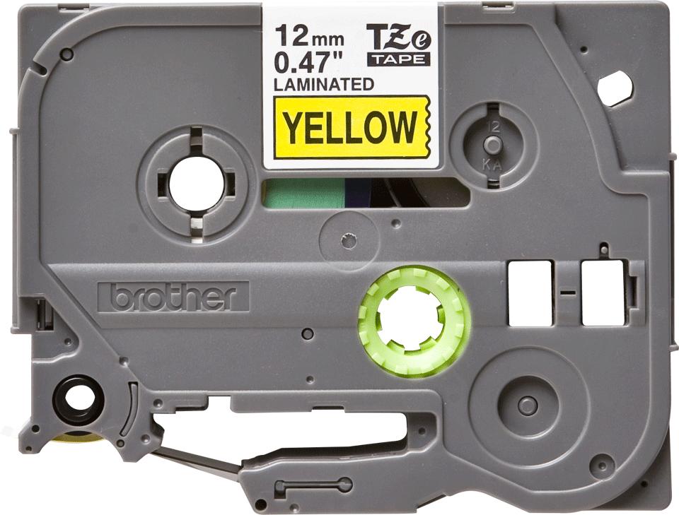 Oryginalna taśma TZe-631 firmy Brother – czarny nadruk na żółtym tle, 12mm szerokości