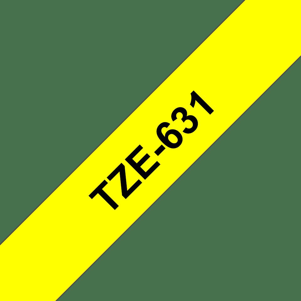 Oryginalna taśma TZe-631 firmy Brother – czarny nadruk na żółtym tle, 12mm szerokości 3
