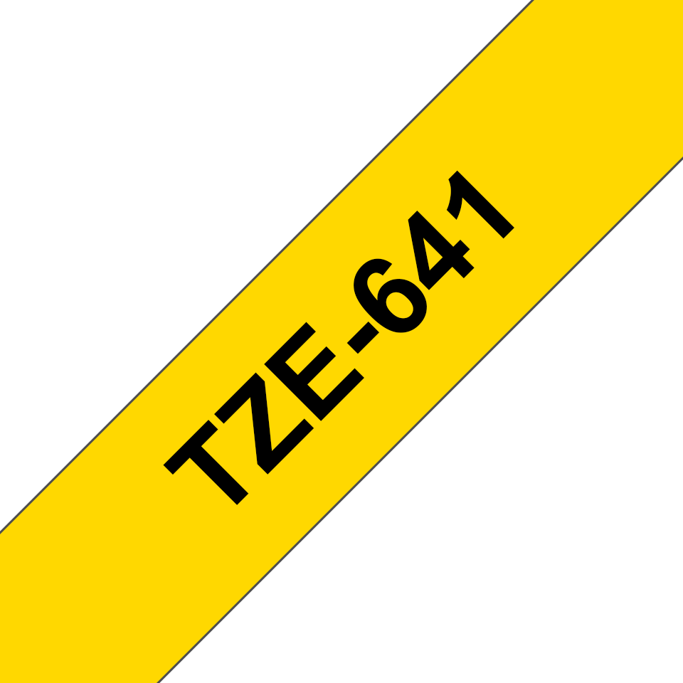 Oryginalna taśma TZe-641 firmy Brother – czarny nadruk na żółtym tle, 18mm szerokości 3