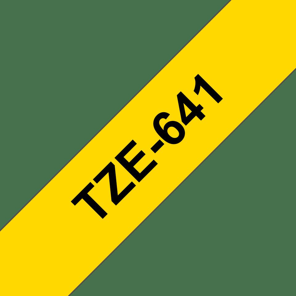 Oryginalna taśma TZe-641 firmy Brother – czarny nadruk na żółtym tle, 18mm szerokości