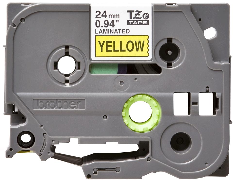 Oryginalna taśma TZe-651 firmy Brother –czarny nadruk na żółtym tle, 24mm szerokości 2
