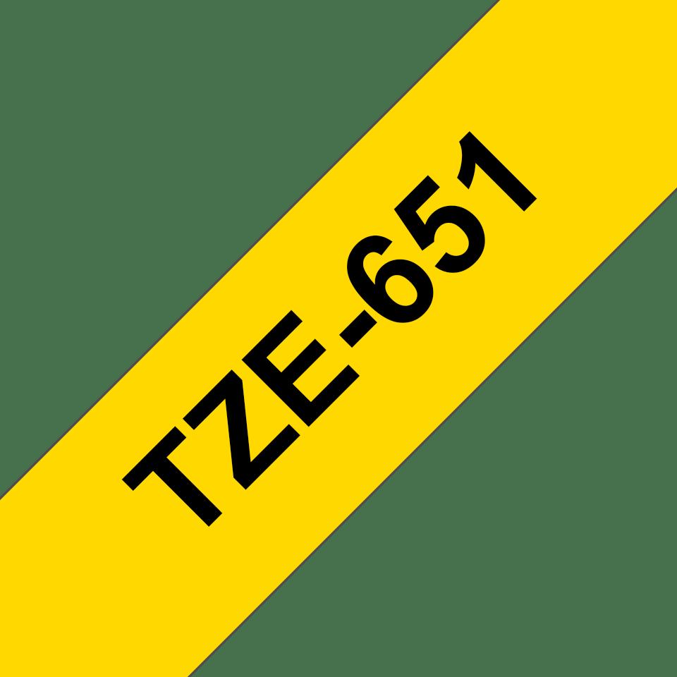 Oryginalna taśma TZe-651 firmy Brother –czarny nadruk na żółtym tle, 24mm szerokości 3