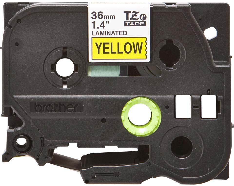 Oryginalna taśma TZe-661 firmy Brother – czarny nadruk na żółtym tle, 36mm szerokości