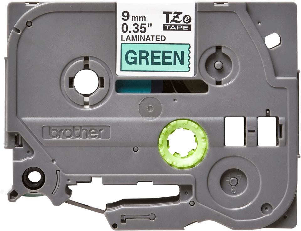 Oryginalna taśma TZe-721 firmy Brother – czarny nadruk na zielonym tle, 9mm szerokości