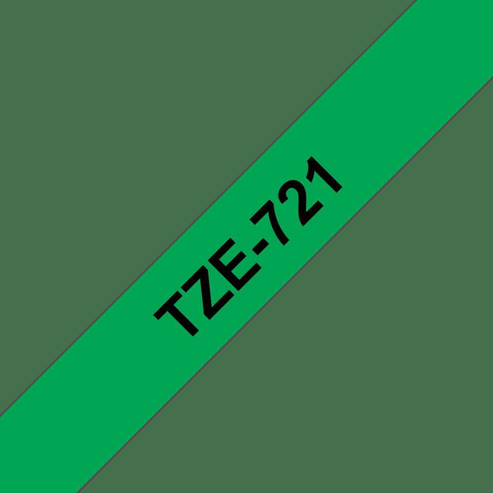 Oryginalna taśma TZe-721 firmy Brother – czarny nadruk na zielonym tle, 9mm szerokości 3