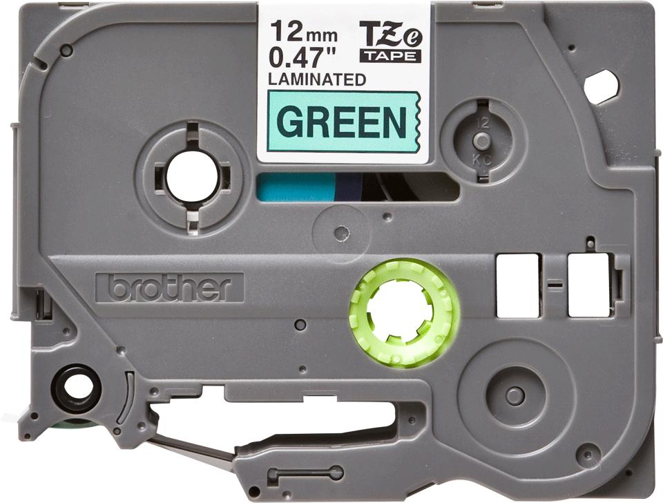 Oryginalna taśma TZe-731 firmy Brother – czarny nadruk na zielonym tel, 12mm szerokości