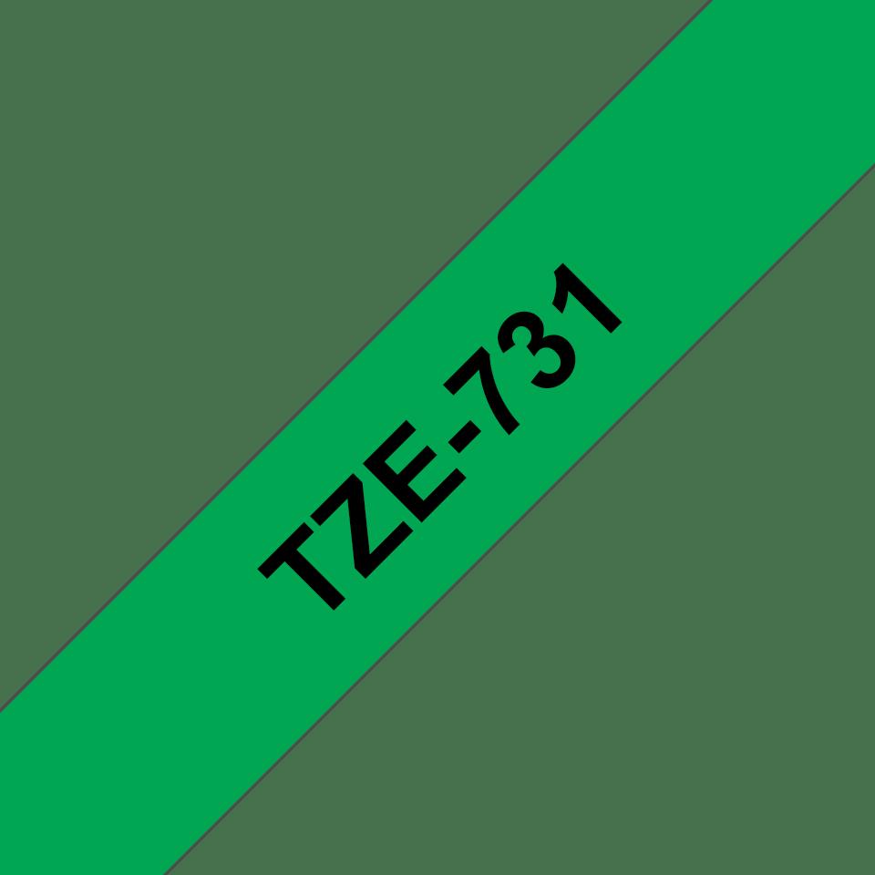 Oryginalna taśma TZe-731 firmy Brother – czarny nadruk na zielonym tel, 12mm szerokości 3