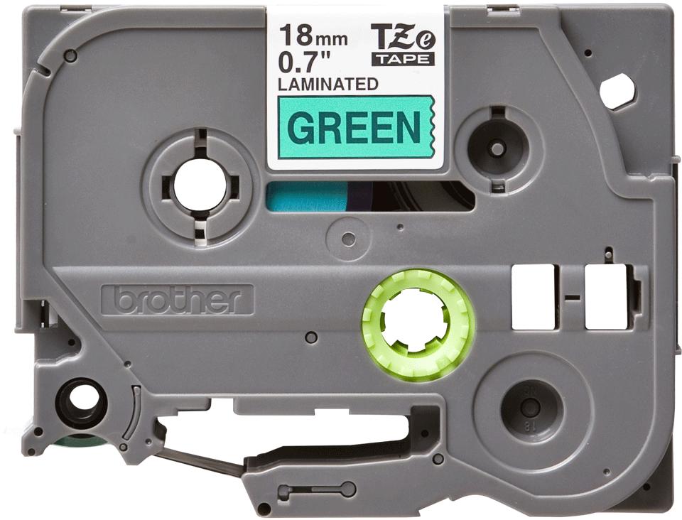 Oryginalna taśma TZe-741 firmy Brother – czarny nadruk na zielonym tle, 18mm szerokości 2