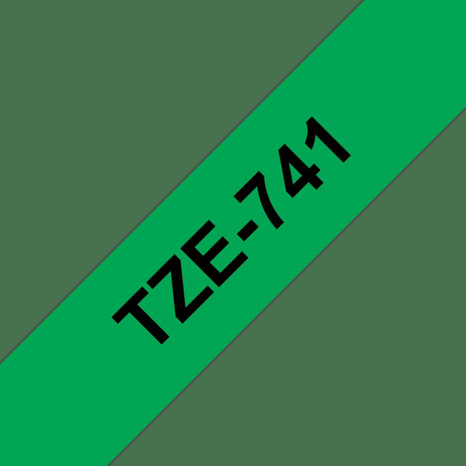 Oryginalna taśma TZe-741 firmy Brother – czarny nadruk na zielonym tle, 18mm szerokości 3