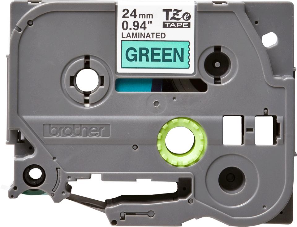 Oryginalna taśma TZe-751 firmy Brother – czarny nadruk na zielonym tle, 24mm szerokości