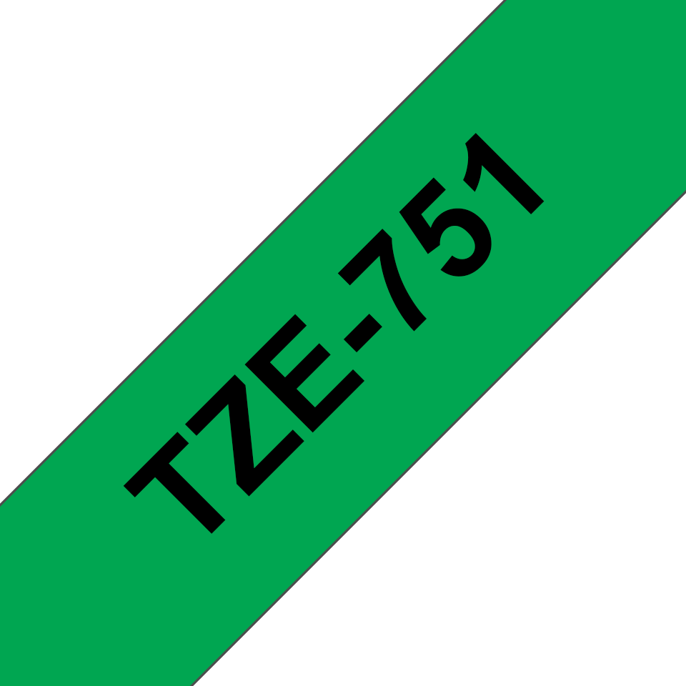 Oryginalna taśma TZe-751 firmy Brother – czarny nadruk na zielonym tle, 24mm szerokości 3