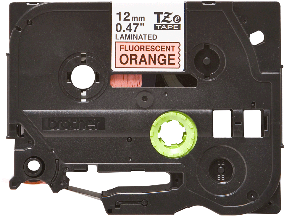 Oryginalna taśma fluorescencyjna TZe-B31 firmy Brother – czarny nadruk na pomarańczowym fluorescencyjnm tle, 12mm szerokości