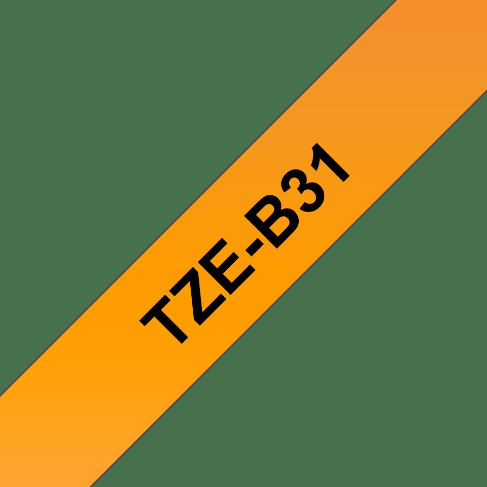 Oryginalna taśma fluorescencyjna TZe-B31 firmy Brother – czarny nadruk na pomarańczowym fluorescencyjnm tle, 12mm szerokości 3