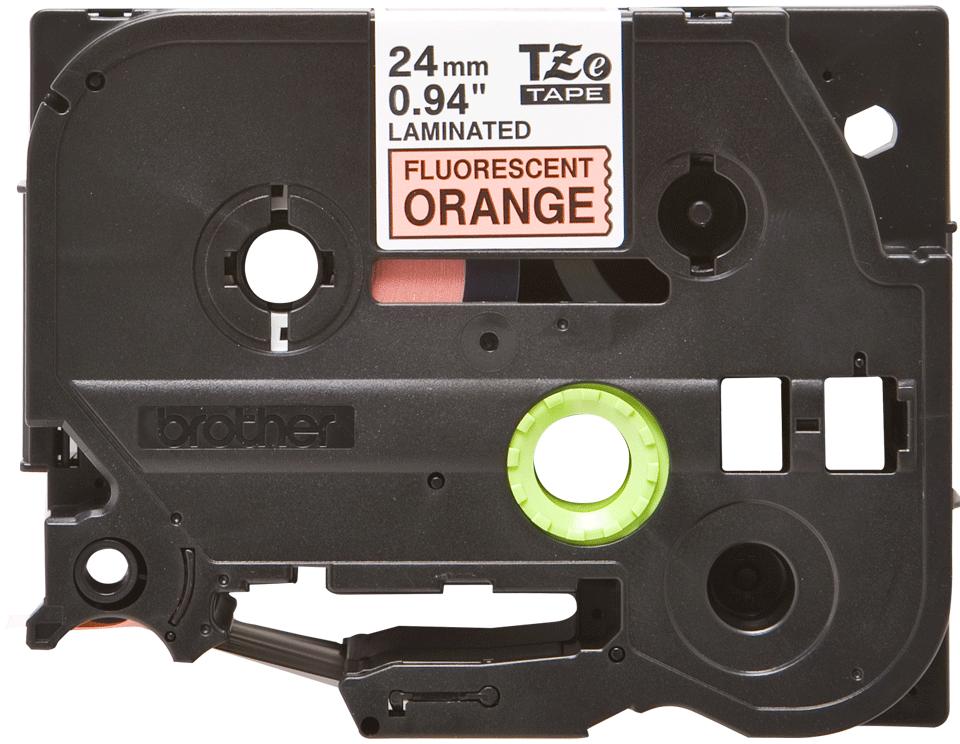Oryginalna taśma fluorescencyjna TZe-B51 firmy Brother – czarny nadruk na pomarańczowym fluorescencyjnm tle, 24mm szerokości