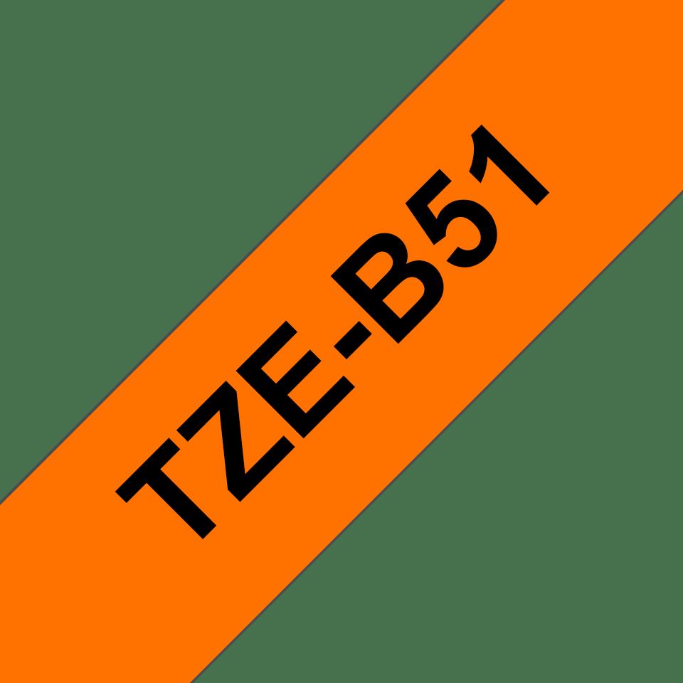 Oryginalna taśma fluorescencyjna TZe-B51 firmy Brother – czarny nadruk na pomarańczowym fluorescencyjnm tle, 24mm szerokości 3