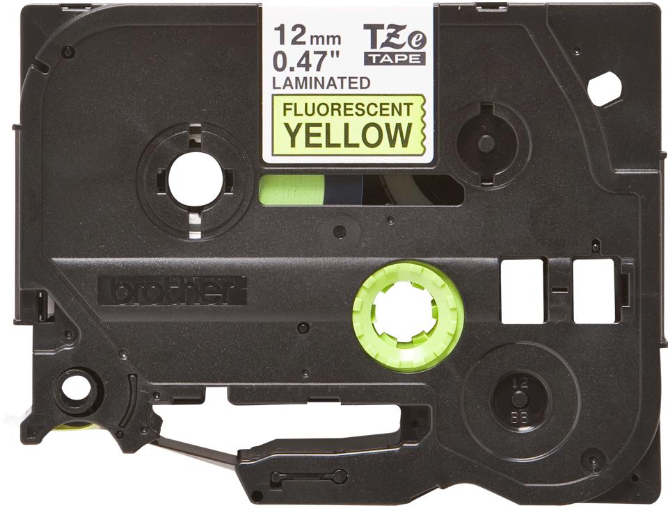 Oryginalna taśma fluorescencyjna TZe-C31 firmy Brother – czarny nadruk na żółtym fluorescencyjnym tle, 12mm szerokości