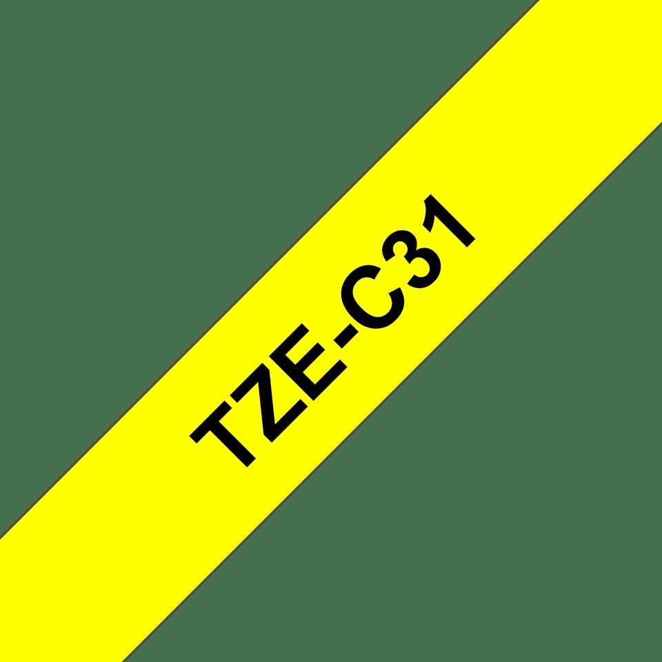 Oryginalna taśma fluorescencyjna TZe-C31 firmy Brother – czarny nadruk na żółtym fluorescencyjnym tle, 12mm szerokości 3