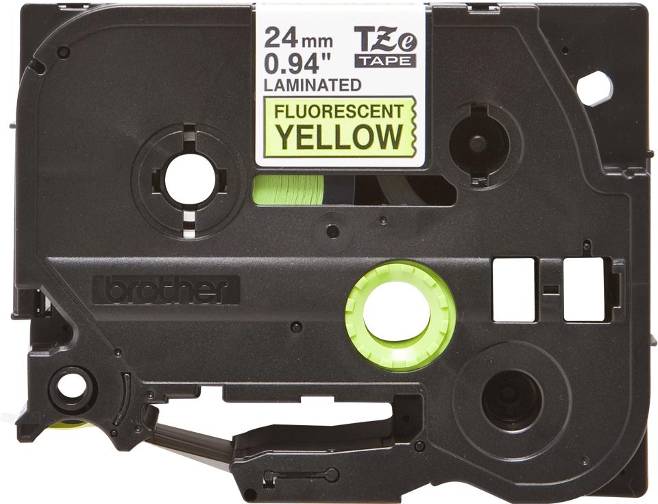 Oryginalna taśma fluorescencyjna TZe-C51 firmy Brother – czarny nadruk na żółtym fluorescencyjnym tle,  24mm szerokości