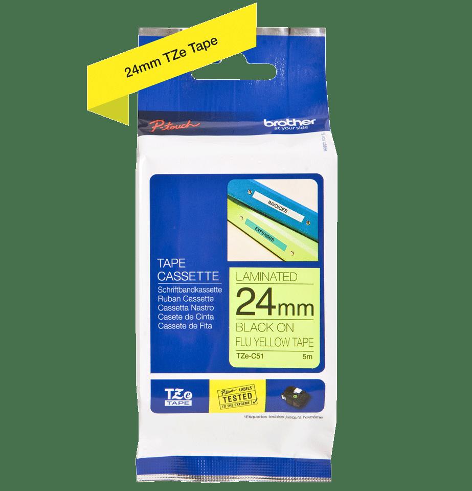Oryginalna taśma fluorescencyjna TZe-C51 firmy Brother – czarny nadruk na żółtym fluorescencyjnym tle,  24mm szerokości 2